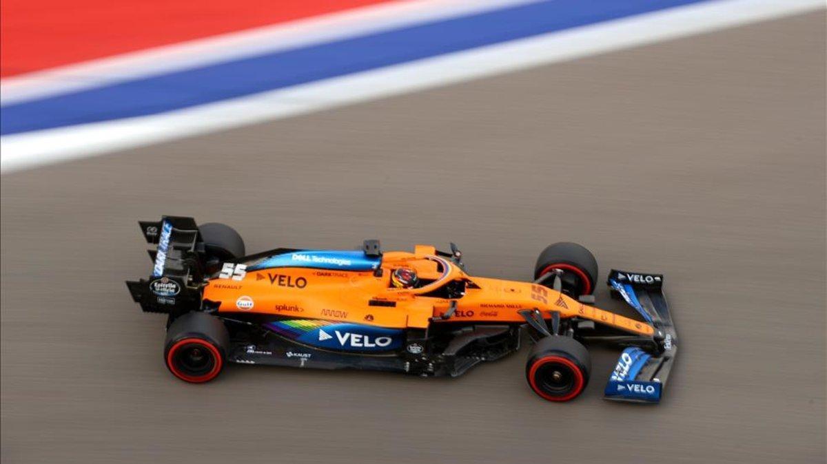 Carlos Sainz durante la clasificación de ayer.