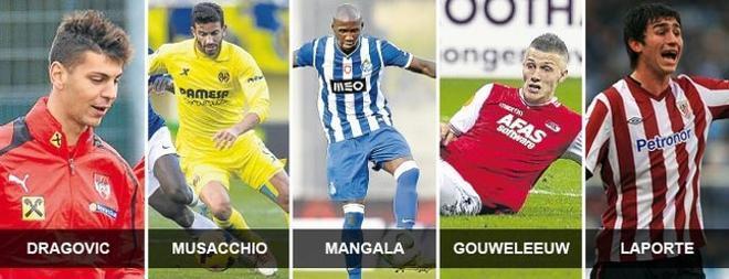 Dragovic costaría 12 millones; Musacchio, 30; Mangala, 25; Gouweleeuw, 12; y Laporte, 36