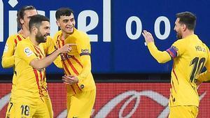 Jordi Alba celebrando su gol ante Osasuna