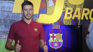 Clément Lenglet en su primera jornada comno futbolista del Barça