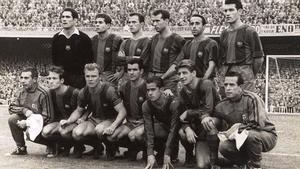 Una formación del Barça de H.H. con históricos pesos pesados del FC Barcelona: Ramallets, Olivella, Rodri, Gracia, Flotats, Segarra, Tejada, Kubala, Evaristo, Suárez y Czibor