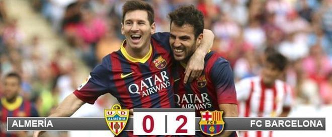 Messi, celebrando su gol con Cesc