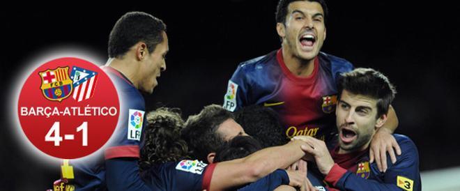 El Barça pudo celebrar cuatro goles y reafirmarse en el liderato ante el Atlético