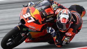 Acosta, durante la carrera de hoy en Austria