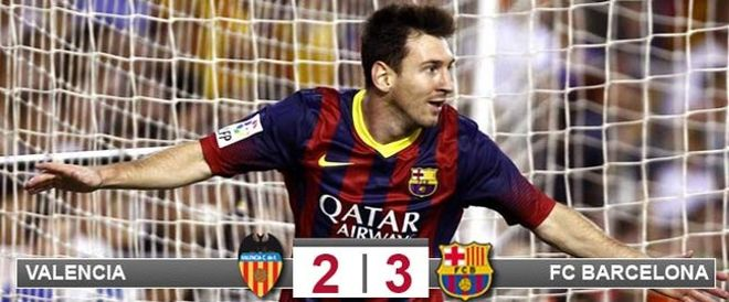 Messi logró un hat-trick en Mestalla