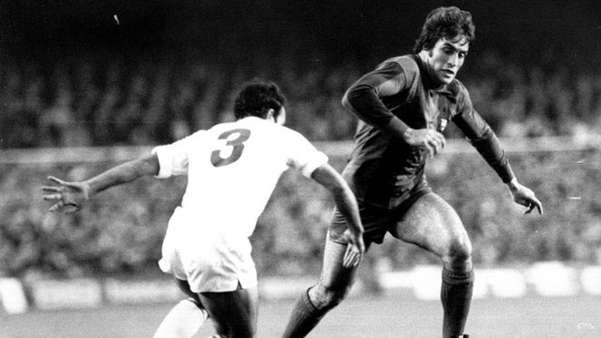 Juan Carlos Heredia, en una imagen de la temporada 1976-77 en el Camp Nou