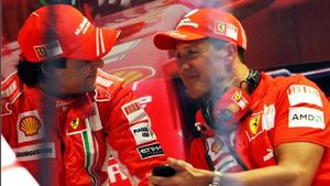 Massa y Schumacher en una imagen de 2008, cuando eran compañeros en Ferrari