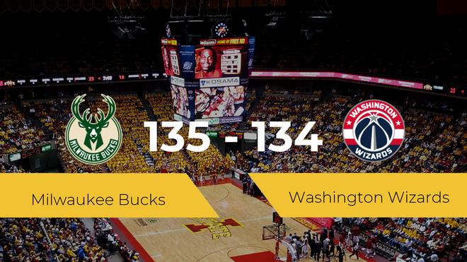 Milwaukee Bucks logra la victoria frente a Washington Wizards por 135-134