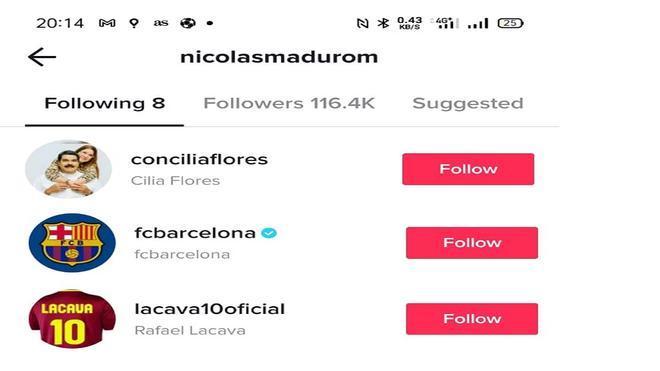 Nicolás Maduro sigue al FC Barcelona en TikTok