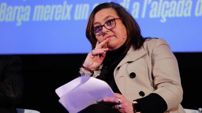 Elena Fort, durante un acto de la candidatura de Joan Laporta