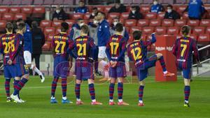 El FC Barcelona celebró el año nuevo chino con unas camisetas especiales con sus nombres escritos en chino en el partido de LaLiga entre el FC Barcelona y el Alavés disputado en el Camp Nou.