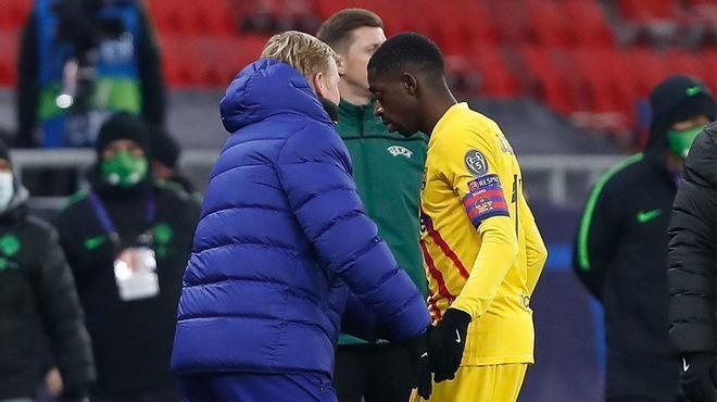 La dura crítica de Koeman al calendario tras la lesión de Dembélé