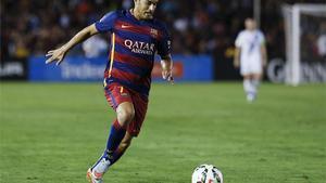 Pedro, en un partido de pretemporada con el Barça