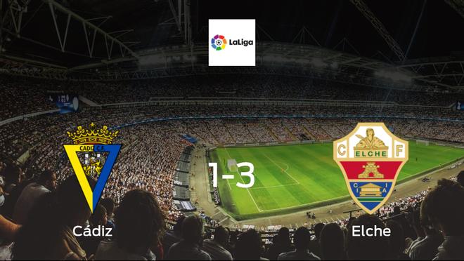 Jubilant Elche take all 3 points against Cádiz, in a 3-1 win