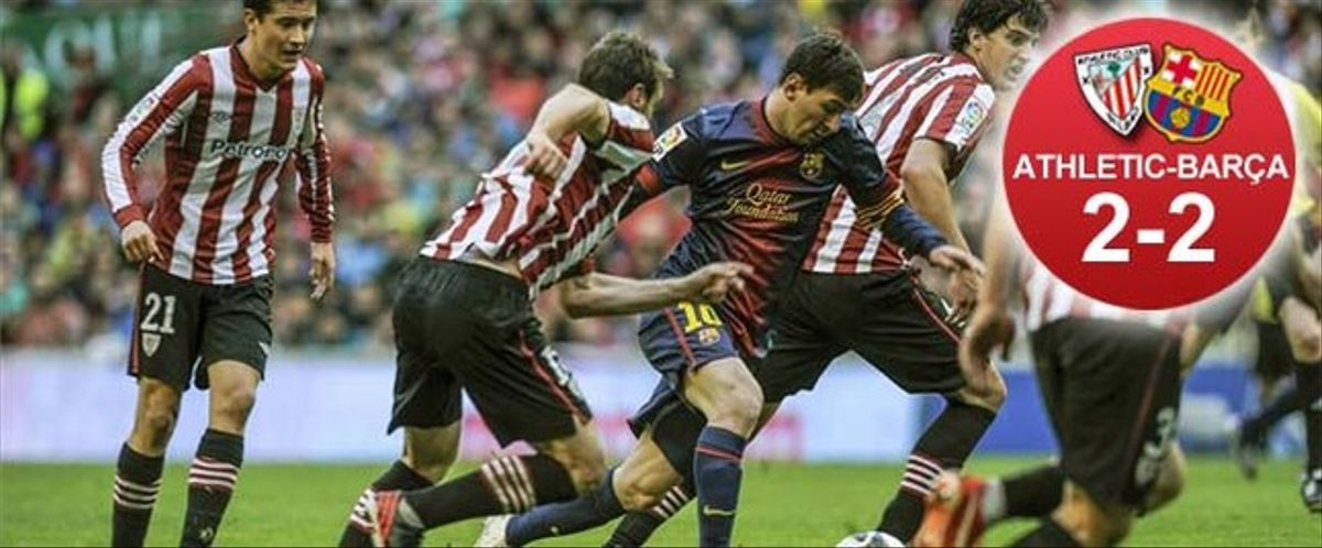 Messi marcó el 1-1 yéndose de tres defensas del Athletic