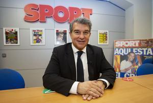 Joan Laporta, candidato a la presidencia del FC Barcelona, visitó la redacción de Sport