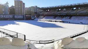 El campo de Vallecas, cubierto en nieve