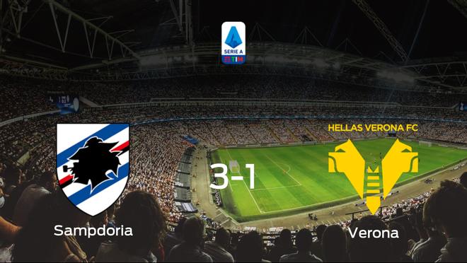 Triunfo 3-1 de la Sampdoria ante el Hellas Verona