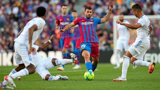 ¡El Kun Agüero se estrenó como goleador culé en el Clásico!