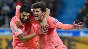 Aleñá y Luis Suárez fueron los autores de los goles ante el Alavés