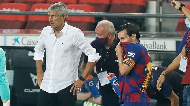 Setién: Veo bien a Messi, lo demás son especulaciones