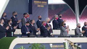 La junta directiva de Joan Laporta durante la Asamblea de Socios Compromisarios