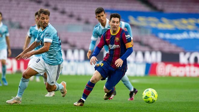 Messi durante el partido ante el Celta