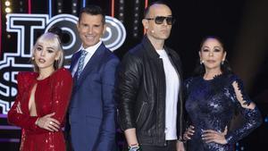 Danna Paola, Jesús Vázquez, Risto Mejide e Isabel Pantoja en el plató de Top star