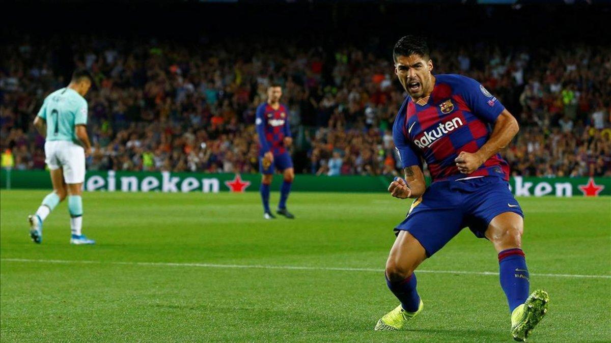 Suárez  celebra el gol de la victoria del Barça ante el Inter