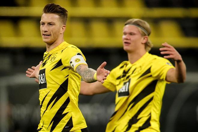 Reus abrió la lata para el Dortmund después de un penalti fallado por Haaland
