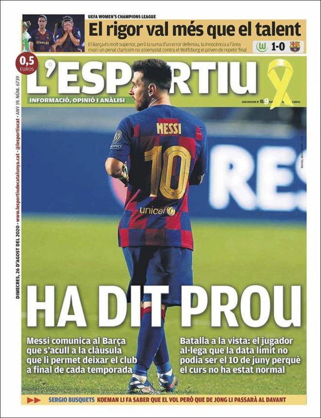 La portada del diario El 9 del 26 de agosto