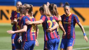 Las jugadoras del Barça durante el choque ante el Deportivo