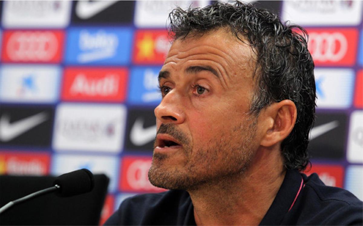 Luis Enrique Martínez, entrenador del Barça, en la rueda de prensa previa al Málaga-Barça