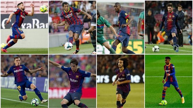 Jordi Alba. Adriano Correia, Éric Abidal, Carles Planas, Lucas Digne, Juan Miranda, Marc Cucurella y Junior Firpo