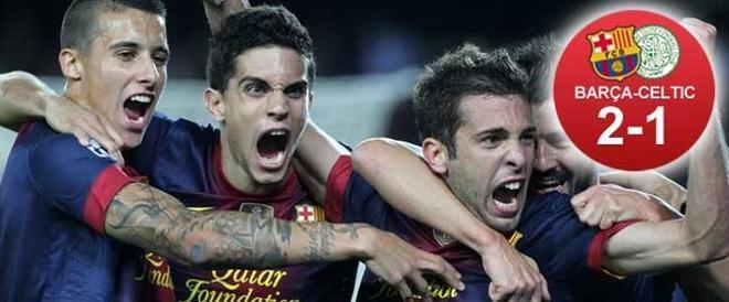 Jordi Alba, celebrando eufórico su gol