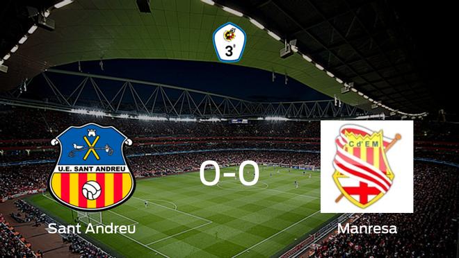 El Sant Andreu y el CE Manresa no encuentran el gol y se reparten los puntos (0-0)