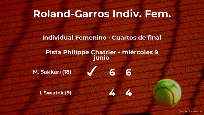 Maria Sakkari estará en las semifinales de Roland-Garros