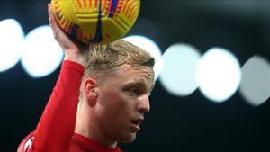 Van de Beek durante un partido con el Manchester United