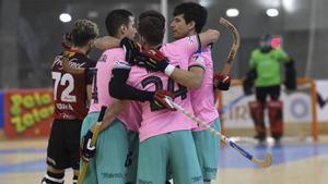 El Barça celebra un gol ante el Noia