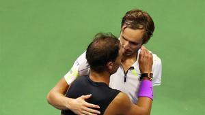 Medvédev y Nadal en la final del Open USA de 2019