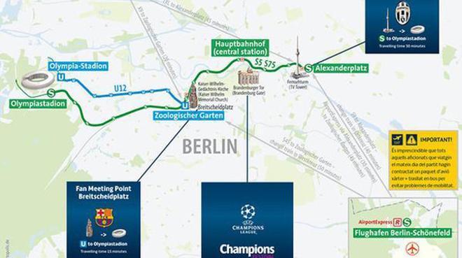 El mapa de la zona del estadio Olímpico en Berlín