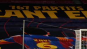 Leo Messi, ante el Huesca, igualaba a Xavi Hernández como jugador con más presencias oficiales en el primer equipo (767)
