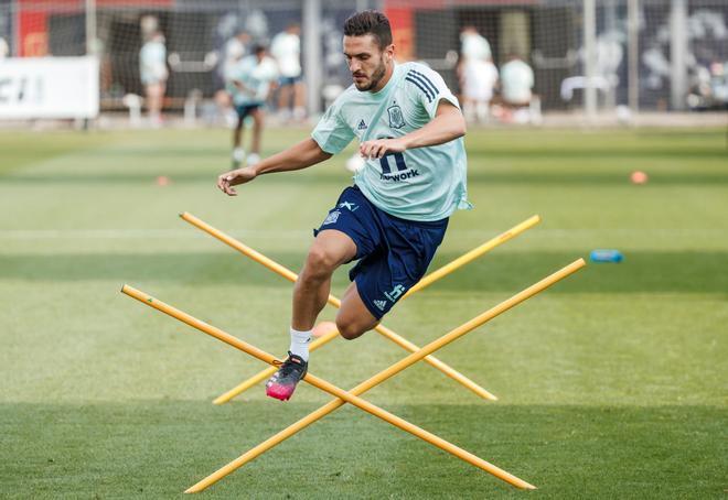 Koke, en un entrenamiento individual de la selección