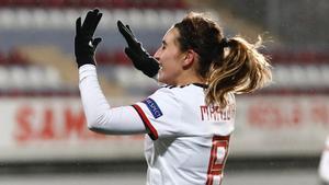 Mariona Caldentey celebra un gol en Bakú