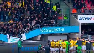 ¡Qué susto se llevaron los aficionados del Vitesse en plena celebración con los jugadores de su equipo!