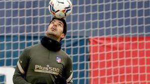 Luis Suárez, durante su primer entrenamiento con el grupo tras  superar la covid-19