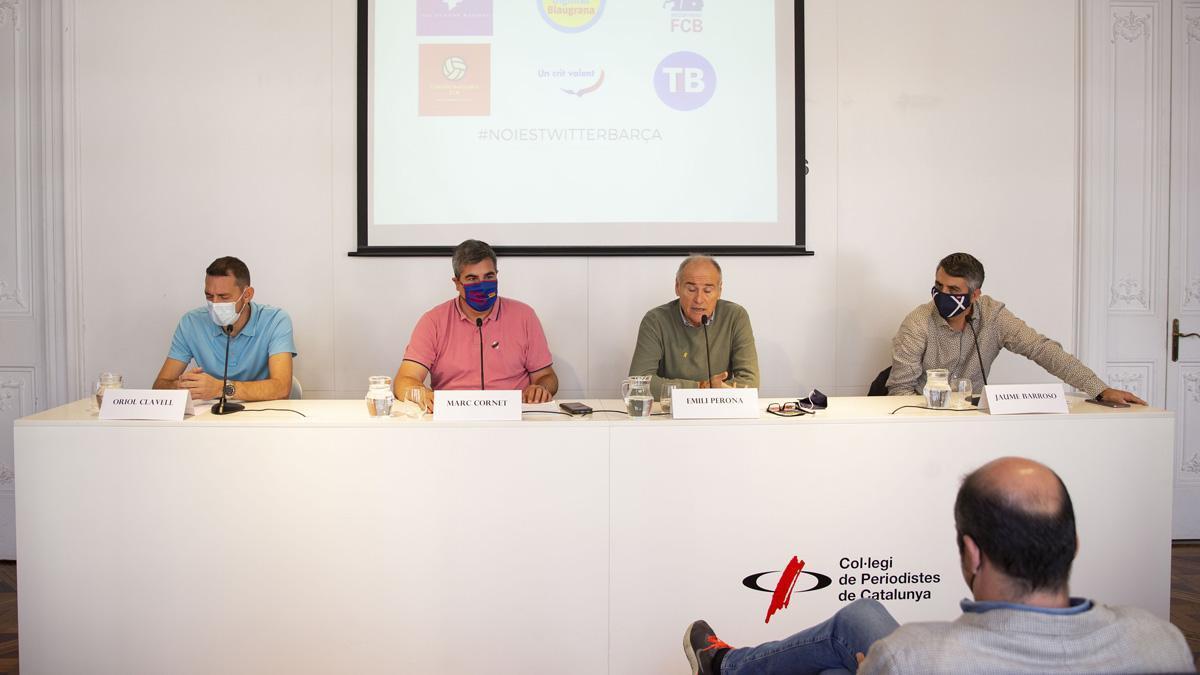 Oriol Clavell, Marc Cornet, Emili Perona y Jaume Barroso durante la rueda de prensa de los grupos de opinión del Barça