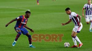 Ilaix Moriba en el partido de LaLiga entre el FC Barcelona y el Valladolid disputado en el Camp Nou.