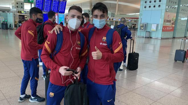 Santi Rufino (izquierda) y Povill, antes de volar a tierras gallegas