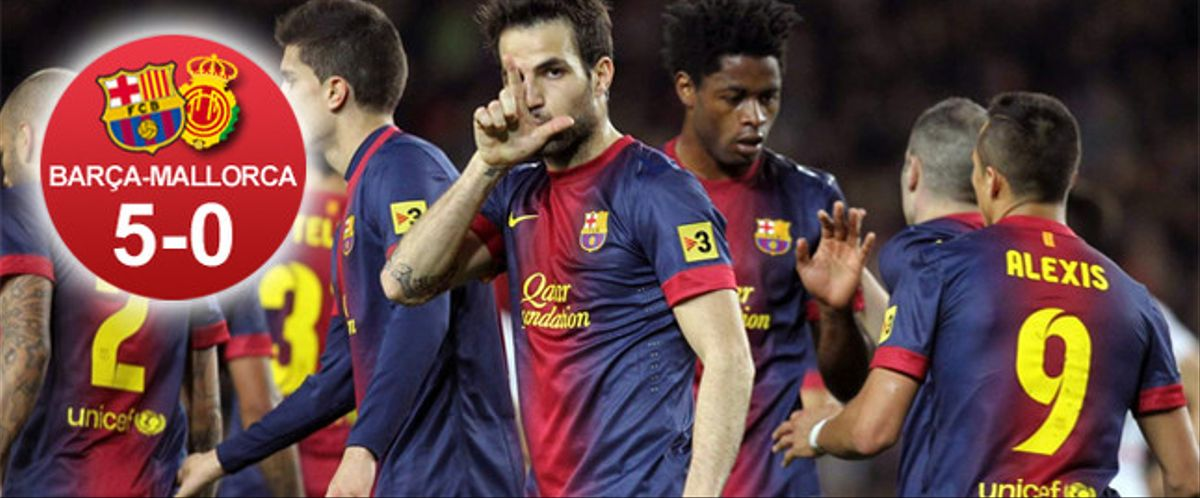 El Barça disfrutó de una goleada histórica frente al Mallorca, por la reaparición de Abidal, antes de afrontar el duelo contra el PSG